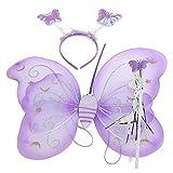 Tinksky Niños mariposa ala varita diadema hadas Cosplay Halloween Navidad fiesta traje (púrpura) conjunto de 3pcs