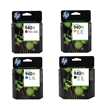 Hewlett Packard HP 940XL Four Pack Black and Colors INK Cartridge Set by Hewlett Packard (English Manual)