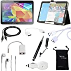 Samsung Galaxy Tab Pro 12.2 and Galaxy Note Pro 12.2 10-Item Accessory Bundle Kit - Standing Slim Black Leather Case, Clear Screen Protector, 2-in-1 Touch Stylus Ink Pen, USB Sync 3.0 Cable, Car Charger Adapter, Earphones, Earbud Splitter, Micro 3.0 USB OTG, Auxiliary Sound Cable, Drawstring Travel Pouch Bag by DigitalsOnDemand ®