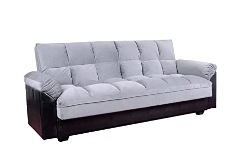 Primo International Mirage Convertible Plush Padded Microfiber Studio Sleeper Sofa, , Grey