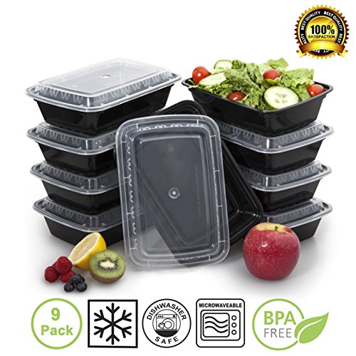 bento lunch box tupperware set meal prep food restaurant containers with lids 9 pack. Black Bedroom Furniture Sets. Home Design Ideas