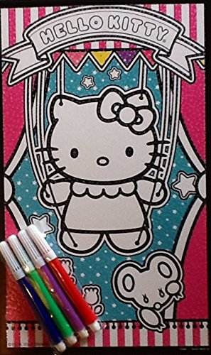 "ColorUps Mini Glitter Poster ~ Hello Kitty Blue Background ~ 10"" x 6"" ~ Children's Coloring Activity!"