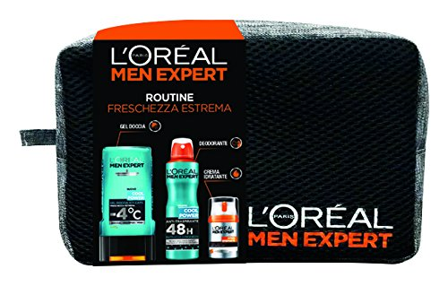 L'Oréal Paris Men Expert cofanetto Natale uomo Power: Gel doccia Cool Power + crema idratante viso Hydra Energetic + Deodorante Cool Power