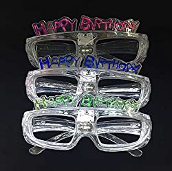 12ct Led Light Up Slotted Shades Sunglasses Happy Birthday