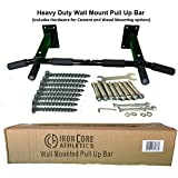 Iron Core Athletics Wall Mount Pull Up Bar - This Heavy Duty Wall Mount Pull Up Bar Has Four Mounting Bolts on Each Side Offering Superior Strength and More Secure Mounting