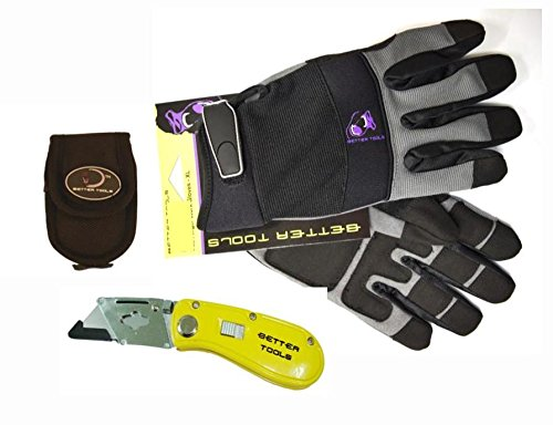 Large Full Finger Work Gloves With Free Folding Utility Knife And Holster, Bt180