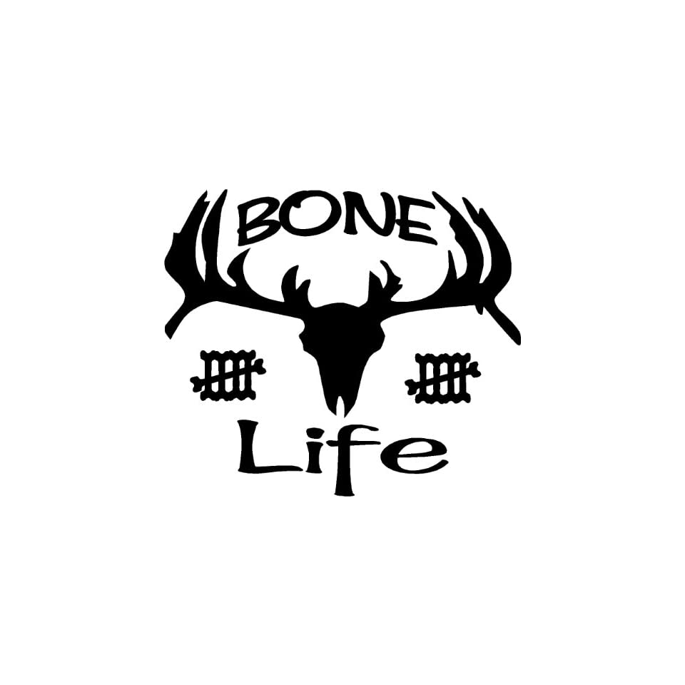 10in Bone Life Collector White Decal Sticker Hunting Deer Buck Back Window Wall Art Label Emblem Car Truck Camo Commander Outdoors