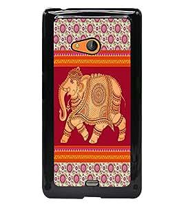PrintDhaba Elephant D-5799 Back Case Cover for MICROSOFT LUMIA 540 (Multi-Coloured)