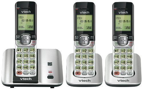 Vtech DECT CS6519-3 6.0 3-Handset Cordless Phone System with Caller ID, Backlit Keypad and Screen and Handset Speakerphones