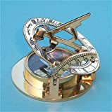Brass Pocket Sundial Compass with Leather Case