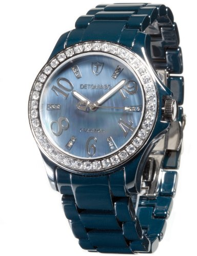 Detomaso DT3015-D - Reloj analógico de cuarzo para mujer con correa de cerámica, color azul