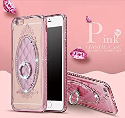 iPhone 6 Plus Case,Glitter Diamond TPU Soft Slim Back Phone Case 360 Degree Rotating Ring Stand Cover for iPhone 6 Plus/6S Plus 5.5 Inch--Rose Gold