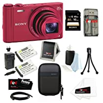 Sony DSC-WX300/R 18.2 MP Digital Camera with 20x Optical Image Stabilized Zoom and 3-Inch LCD (Red) + Sony 16GB SDHC Memory Card + Sony Camera Case + Accessory Kit