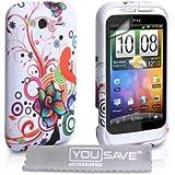 Yousave Accessories TM Weiß / Mehrfarbig Blumen Wirbel Muster Silikon Schutzhülle Tasche Für Das HTC Wildfire S Mit Displayschutz Folie Und Graues Micro Faser Poliertuch