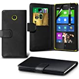 ONX3 Black Nokia X Protective Faux Credit / Debit Card Leather Book Style Wallet Skin Case Cover, Retractable Touch Screen Stylus Pen & LCD Screen Protector Guard