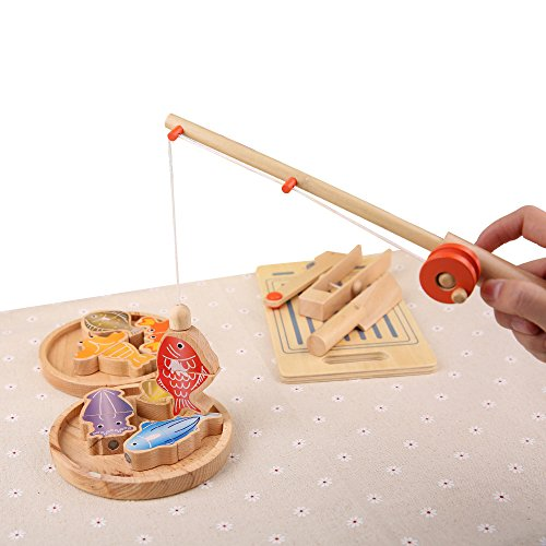 Wood Magnetic Fishing Game with 7 Fish,1 Pole Kitchen Cutting Cooking Playset with 2 Plate,1 Knife,1 Fork,1 Chopping Board Fun