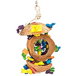 NATURAL COCONUT KABOB WITH WOOD & SISAL BIRD TOY...FOR MEDIUM AND LARGE PARROTS
