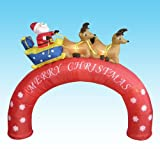 inflatable xmas arch:8 feet Christmas blow up Santa Claus in Sleigh on mid-foot + Reindeers