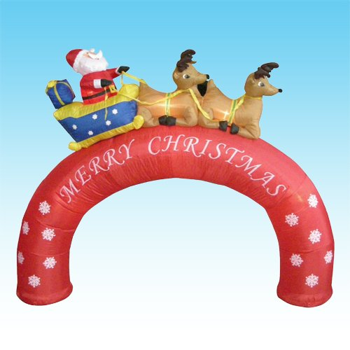 inflatable xmas arch:8 feet Christmas blow up Santa Claus in Sleigh on mid-foot + Reindeers Images
