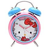 Bazaar Pirates Hello Kitty Alarm Clock, Old Age, Old Fashioned, Kids Room Table Clock (Steel) (Pink-Blue)