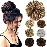 Lelinta Hair Bun Extensions Wavy Curly Messy Donut Hair Chignons Hair Piece Hairpiece (Color: Dark Black, Tamaño: onesize)