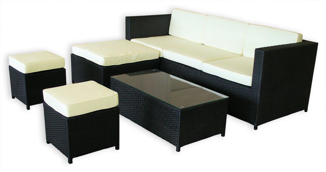 KMH®, 5-teilige Gartensitzgruppe (schwarz) (inklusive Auflagen und Kissen) (#106110)