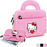 Hello Kitty Themed Samsung Galaxy Tab 3 7.0 T211/T215/WiFi P3210/T210 Tablet Sleeve w/ Handles in Polka Dot Pink (Neoprene, Water Resistant, Branded YKK Zippers, Soft Plush Inner Lining)