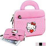 Hello Kitty Themed HTC Evo View 4G / Flyer / Flyer Wi-fi Tablet Sleeve w/ Handles in Polka Dot Pink (Neoprene, Water Resistant, Branded YKK Zippers, Soft Plush Inner Lining)
