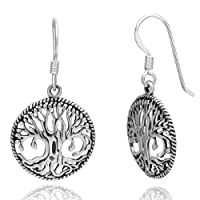 925 Oxidized Sterling Silver Detailed Celtic Tree of Life Twisted Edge Round Dangle Hook Earrings 1.3'' Fashion Jewelry for Women - Nickel Free from Chuvora