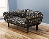 Best Futon Lounger - Versatile Positions - Sit Lounge Sleep - Smaller Size Piece of Furniture is Perfect for Bedroom Studio Apartment Guest Room Covered Patio Porch (CAMO)