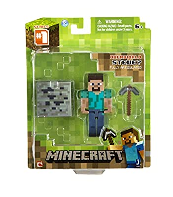 Minecraft Value Bundle! Set of 3! Core Steve, Enderman and Zombie Action Figures with Accessories by JINX