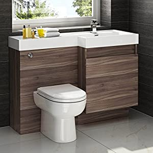 1200mm Walnut Vanity Unit Modern Toilet Bathroom Sink Right Hand Storage Furniture Ibathuk