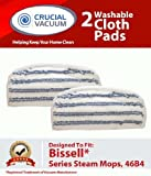 2 Bissell Washable & Reusable Pads Fit Bissell Steam & Sweep Hard Floor Cleaner Series 46B4; Replaces Bissell Part 75F5, 2032200, 203-2200, Does Not Fit Bissell Powerfresh Mop 1940, Designed & Engineered by Crucial Vacuum