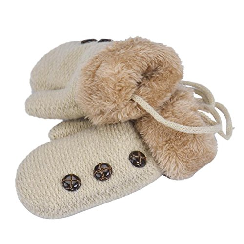 DZT1968® 1 Pair Winter Baby Cute Thick Gloves Mittens With String (0-12 Months) (Beige)