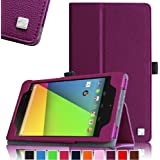 Fintie ASUS Google Nexus 7 Folio Case - Slim Fit PU Leather Smart Cover Case With Auto Wake / Sleep Feature For ASUS Google Nexus 7 7-inch FHD Tablet 2013 Model Tablet, Purple