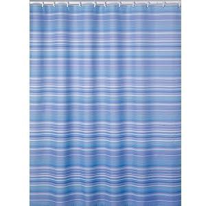 Palm Beach Stripe Fabric Shower Curtain, Blue
