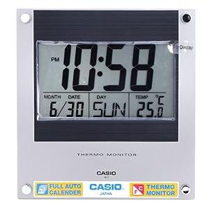 Casio Id-11-2 Digital Auto Calendar Thermo Hygrometer Wall and Desk Clock with Indoor Temperature Silver Blue Battery Included de Casio