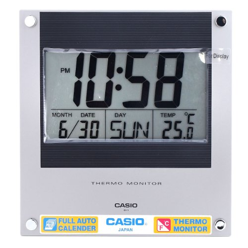 Casio Id-11-2 Digital Auto Calendar Thermo Hygrometer Wall and Desk Clock with Indoor Temperature Silver Blue Battery Included