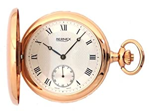 Bernex Swiss Made Rose Gold Plated Pocket Watch with 17 Jewel Mechanical Movement