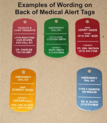 Custom Engraved Personalized Medical Alert ID Dog Tag (Necklaces or Keychain ~ Your Choice)