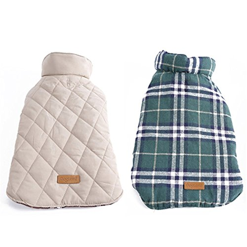 Pet Dog Jacket Winter Waterproof Windproof Reversible British Style Plaid Dog Pet Vest Winter Coat Warm Dog Apparel for Cold Weather Dog Jacket for dogs with Furry Collar (XS - 3XL )Green,Medium (British Plaid Coat compare prices)