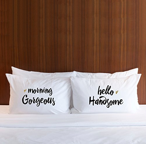 """Pillowcases for Couples or Wedding Gift for Newlyweds, """"Good Morning, Gorgeous"""" & """"Hello Handsome"""" Pillowcases Gift Set (2 Standard/Queen Pillowcases)"""