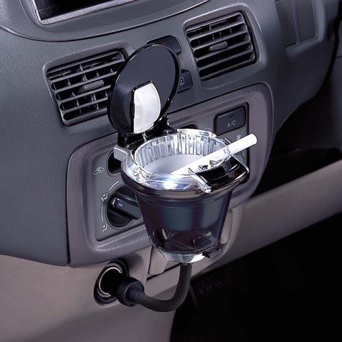 ナポレックス 車用 灰皿 フレキアッシュ ドリンクホルダー型 ブラック LED付き Fizz-883