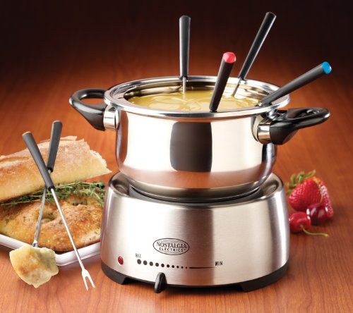 Kitchen Appliance Accessories: Nostalgia FPS200 6-Cup Stainless Steel Electric Fondue Pot