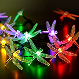 Premium Quality Outdoor Dragonfly Solar String Lights 16ft 20 LED 8 Modes Waterproof Fairy Lighting for Christmas Trees Garden Patio Wedding Party Festival and Holiday Decorations (Multi-Color)