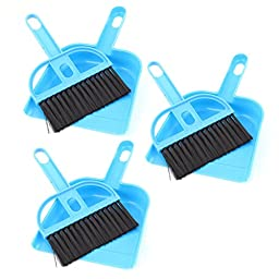 uxcell® Keyboard Air Outlet Vent Cleaning Sweeping Brush Dustpan 3 Sets Blue