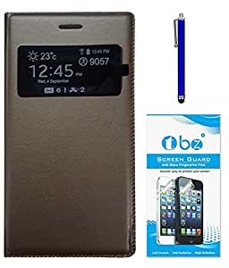 TBZ PU Leather Window Flip Cover for Samsung Galaxy Core i8262 with Stylus Pen and Screen Guard -Brown