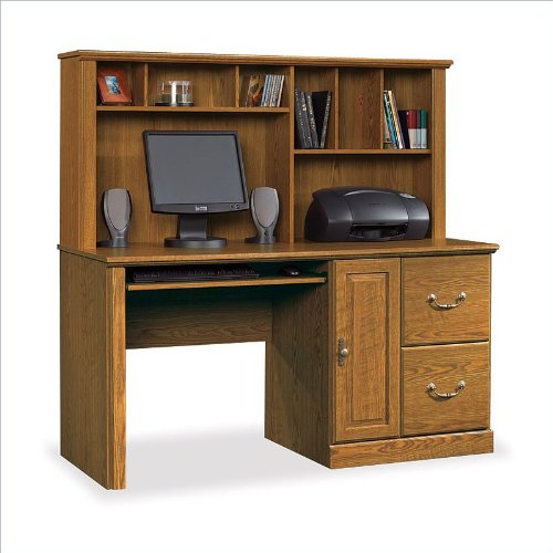 Orchard Hills 2 Drawer Computer Desk w Hutch in Oak Finish
