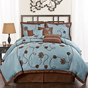 Lush decor flourish garden 7 piece comforter for Kitchen queen set