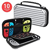 MEQI Nintendo Switch Carrying Case Protective Hard Shell Slim Travel Carry Case -10 Game Cartridge Holders Portable Carry Case Pouch for Nintendo Switch Console & Accessories - Silver (Color: Silver)